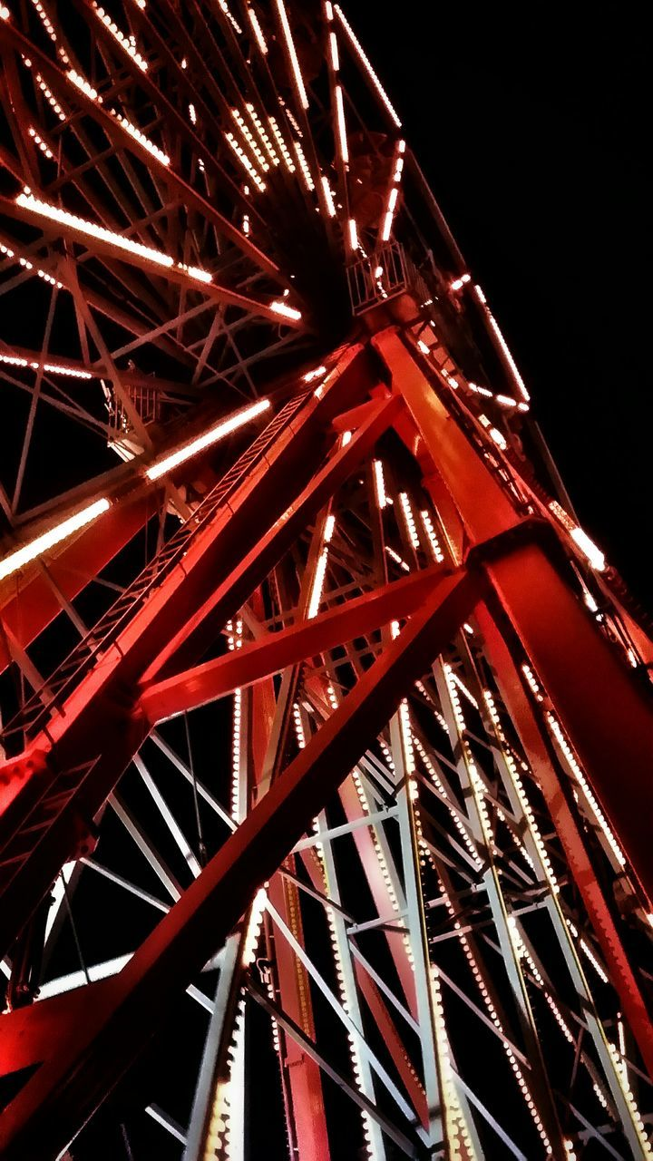 night, illuminated, low angle view, red, no people, outdoors, ferris wheel, architecture, black background, sky, close-up