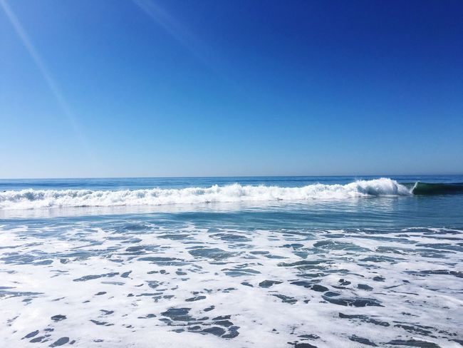 Blue Sea Nature Scenics Beauty In Nature Water Horizon Over Water Tranquility Wave Clear Sky Sky Sunlight Outdoors Tranquil Scene Day No People Beach Carlsbad Beach California Dreaming Sunbeam