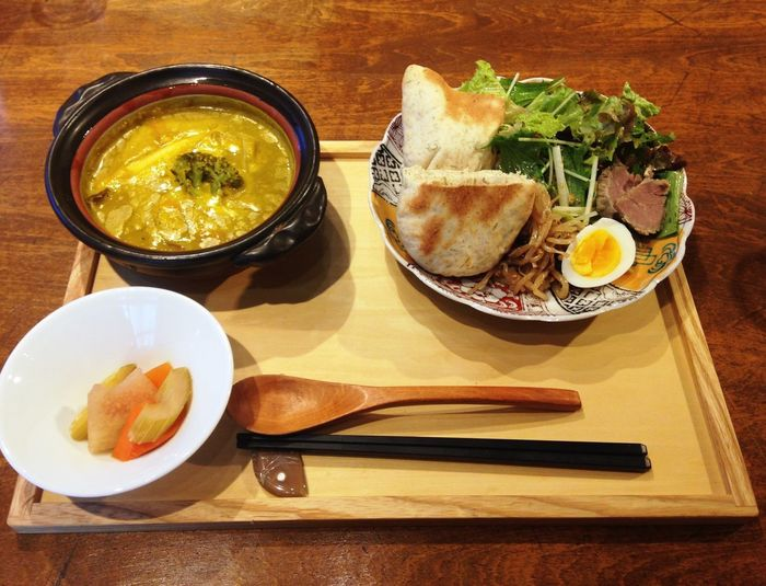 Enjoying A Meal Lunch Soup Bread Salad 南瓜スープのランチ
