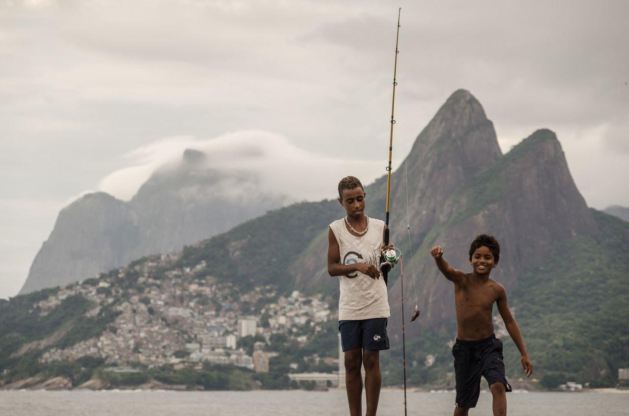 Big catch Rio De Janeiro Brazil Copacabana Favela Beach Fishing