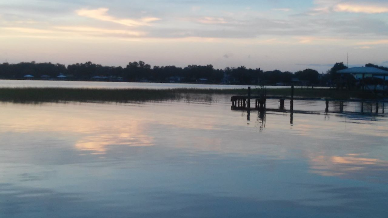 water, reflection, sunset, tranquility, sky, tranquil scene, lake, nature, beauty in nature, waterfront, scenics, outdoors, no people, silhouette, cloud - sky, day