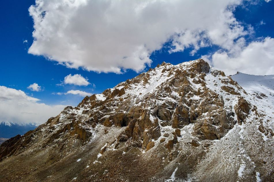 Snow Mountain. Ladakh, India. Mountain Sky Beauty In Nature Cloud - Sky Tranquility Outdoors Low Angle View Nature Day Scenics No People Mountain Peak Snow