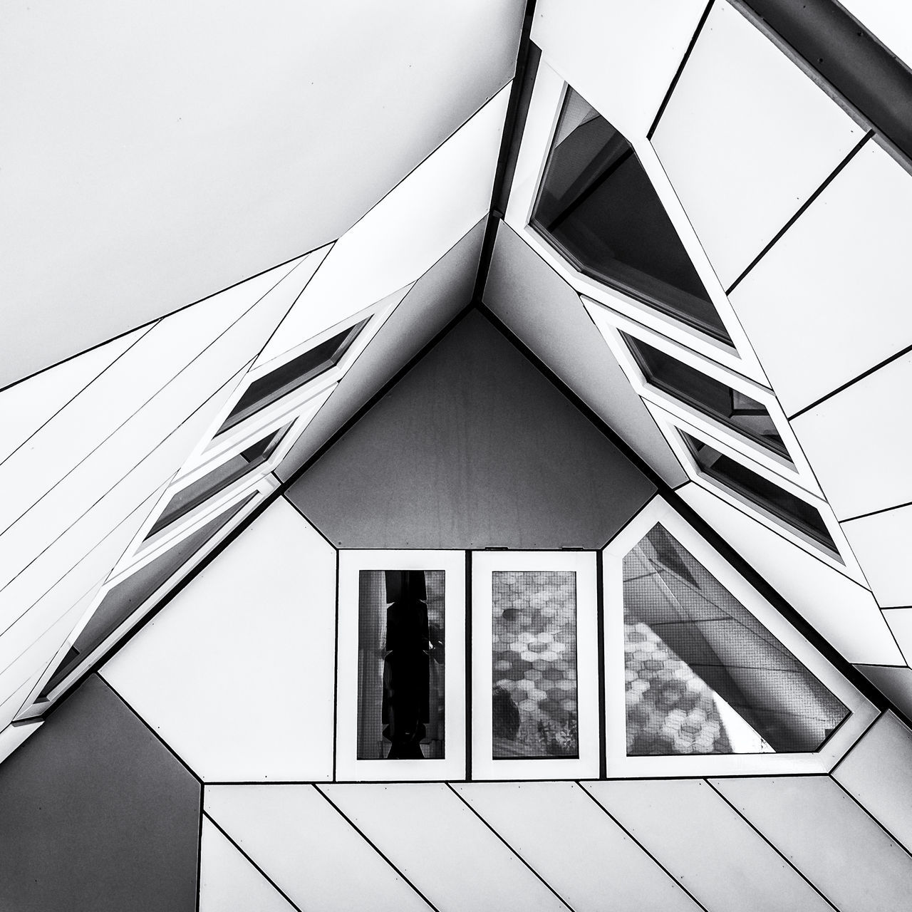 Detail of a Cube house in bnw Abstraction Architecture Black & White Black And White Black And White Photography Blackandwhite Blackandwhite Photography Blackandwhitephotography Building Exterior Built Structure Cube Houses Low Angle View Modern No People Squarecrop Window