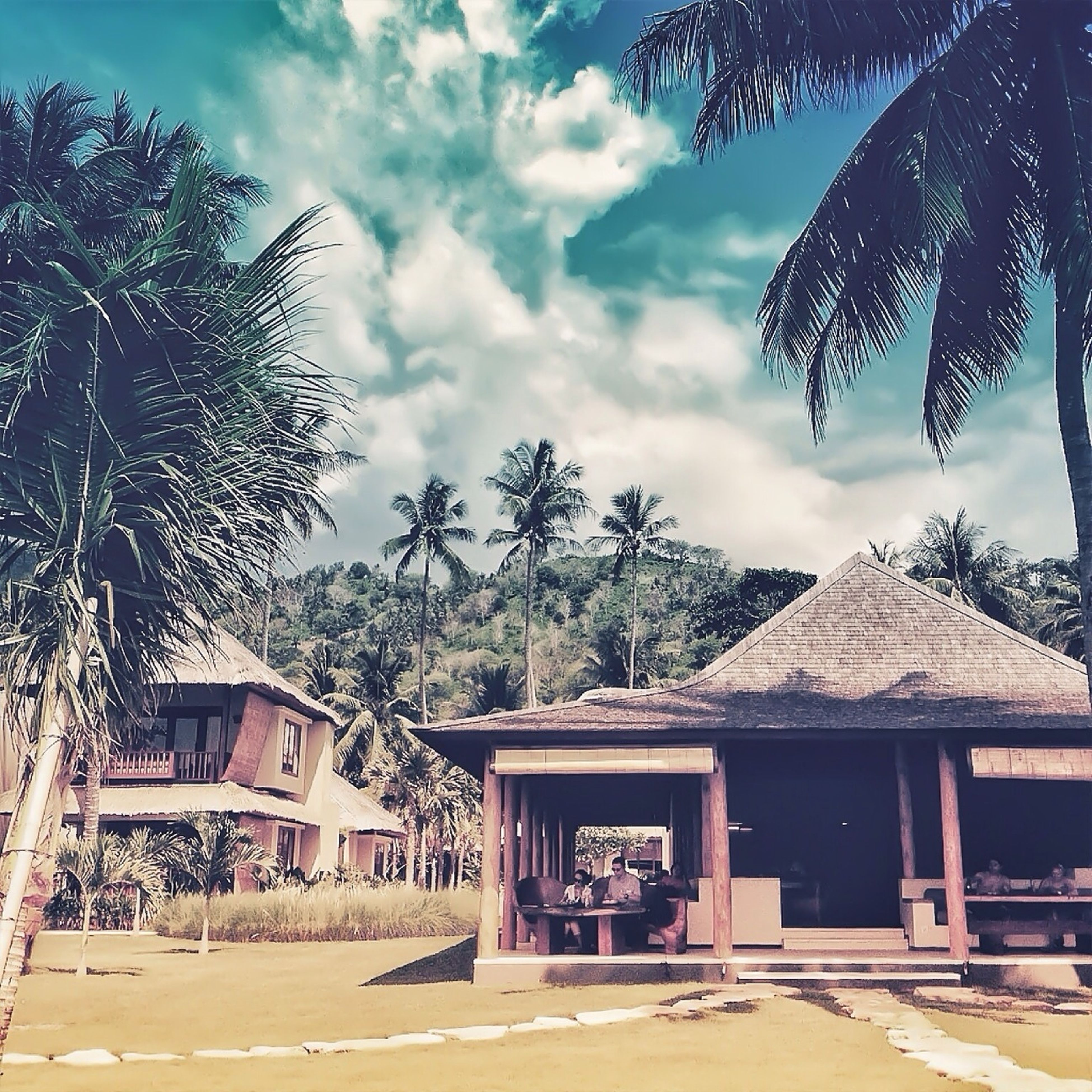 building exterior, architecture, built structure, house, sky, tree, residential structure, residential building, cloud - sky, roof, cloud, sunlight, day, outdoors, village, town, palm tree, hut, cloudy, nature