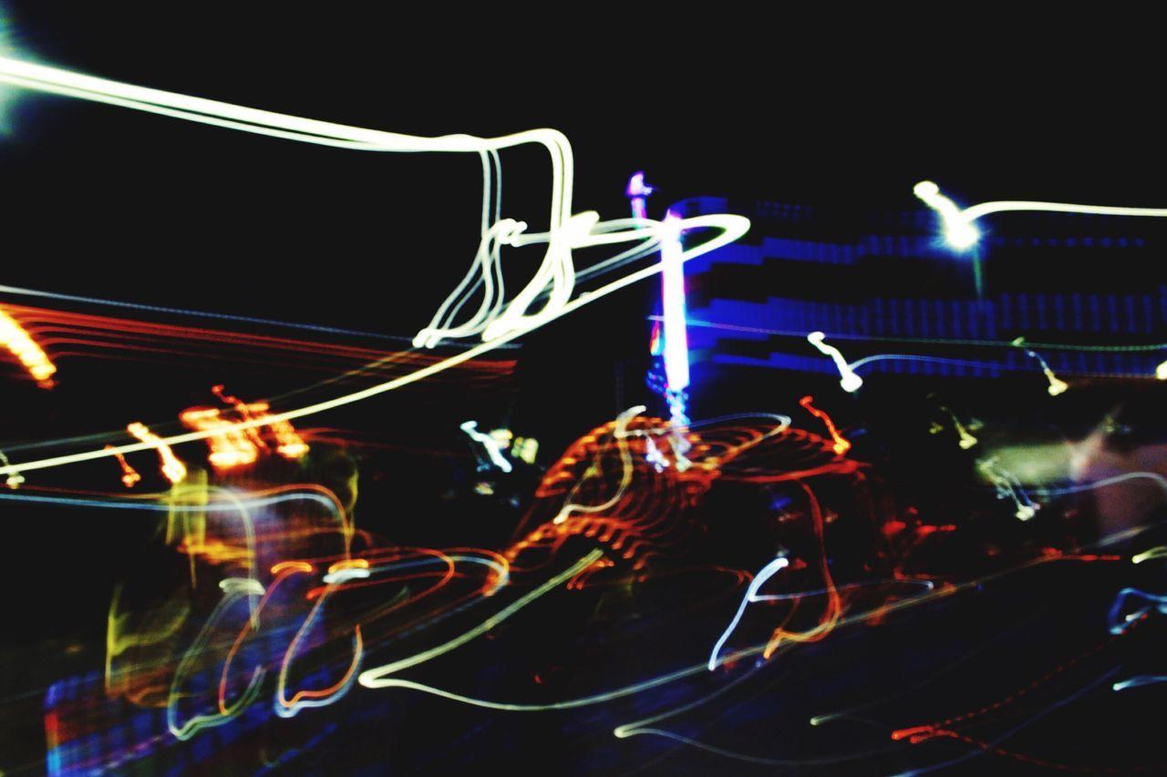 illuminated, night, arts culture and entertainment, long exposure, outdoors, amusement park, no people, close-up, sky