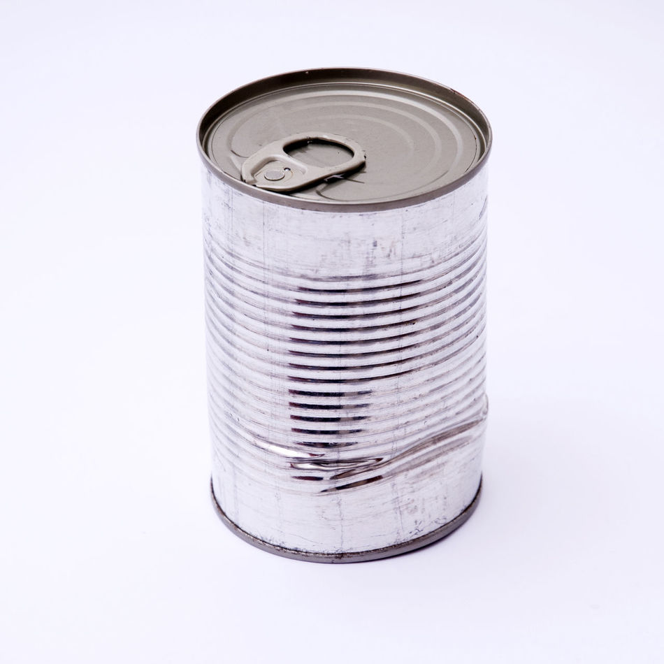 Can Dented Food Containers Old Tin White Background