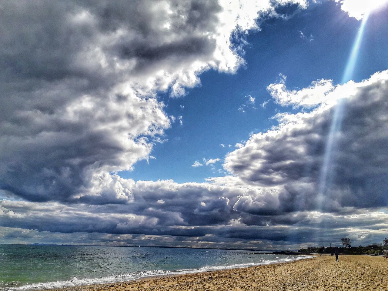 sky, sea, cloud - sky, nature, scenics, tranquility, tranquil scene, day, beauty in nature, beach, horizon over water, water, outdoors, sunlight, idyllic, no people, sand, vacations