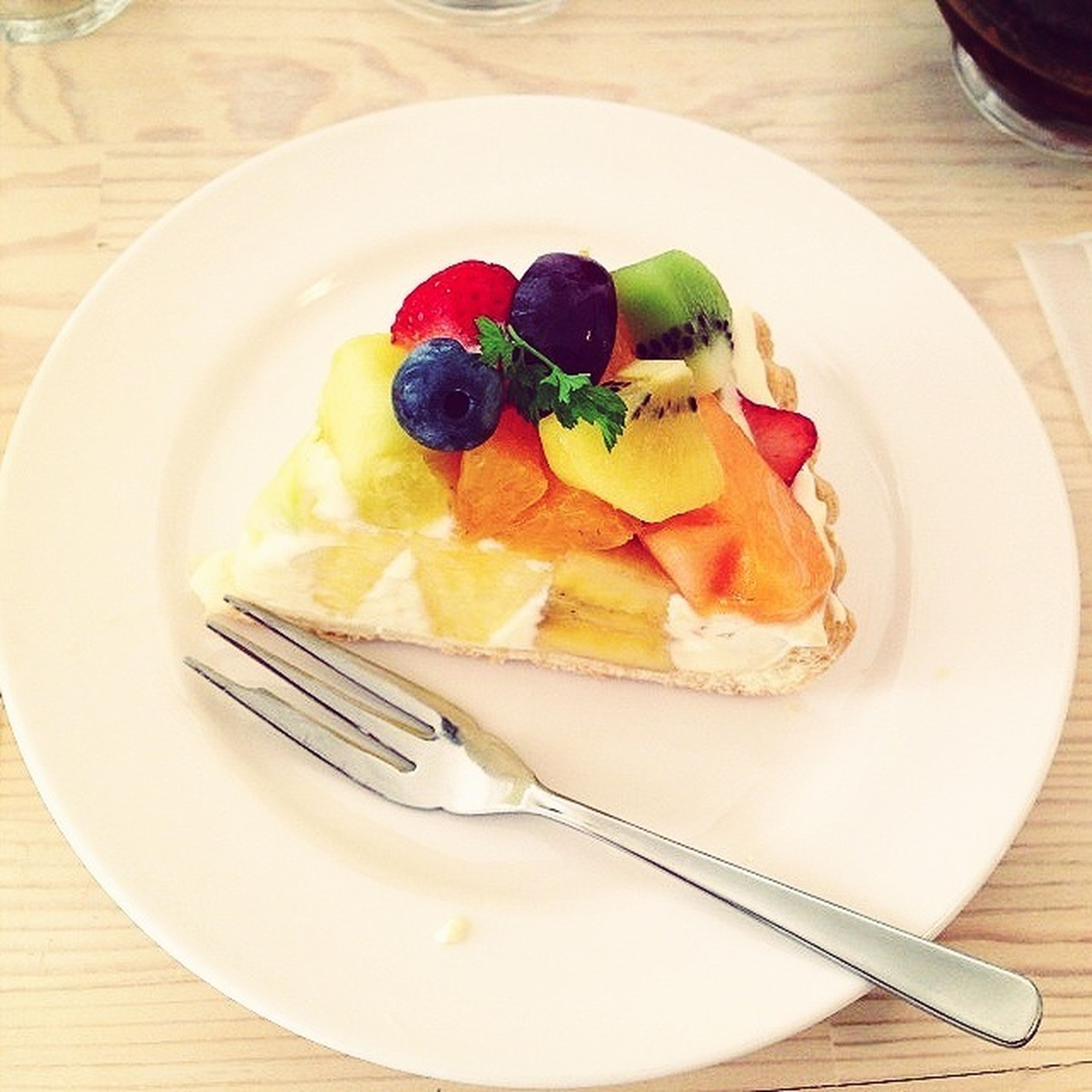 food and drink, food, freshness, indoors, plate, ready-to-eat, still life, healthy eating, table, serving size, indulgence, meal, high angle view, fork, temptation, bowl, close-up, fruit, served, slice