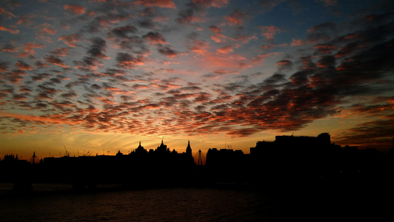 Sunset over London Architecture Beauty In Nature Building Exterior City Cityscape Cloud - Sky Dramatic Sky EyEm New Here London Nature No People Outdoors Red Sky Silhouette Sky Sunset Thames The City Light United Kingdom Urban Skyline Water Westminster