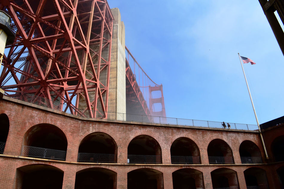Golden Gate Bridge @ Fort Point 13 Fog San Francisco CA🇺🇸 Fort Point Military Base Built 1861 Civil War Low Angle View Barracks Golden Gate Bridge Built 1937 Flag Flagpole Architecture Architectural Detail Brick&mortar Bridge Tower Bridge Span Fort Point Lighthouse Arches Archways Bridge Arch People On Roof Steel Structure  Rooftop Diminishing Perspective