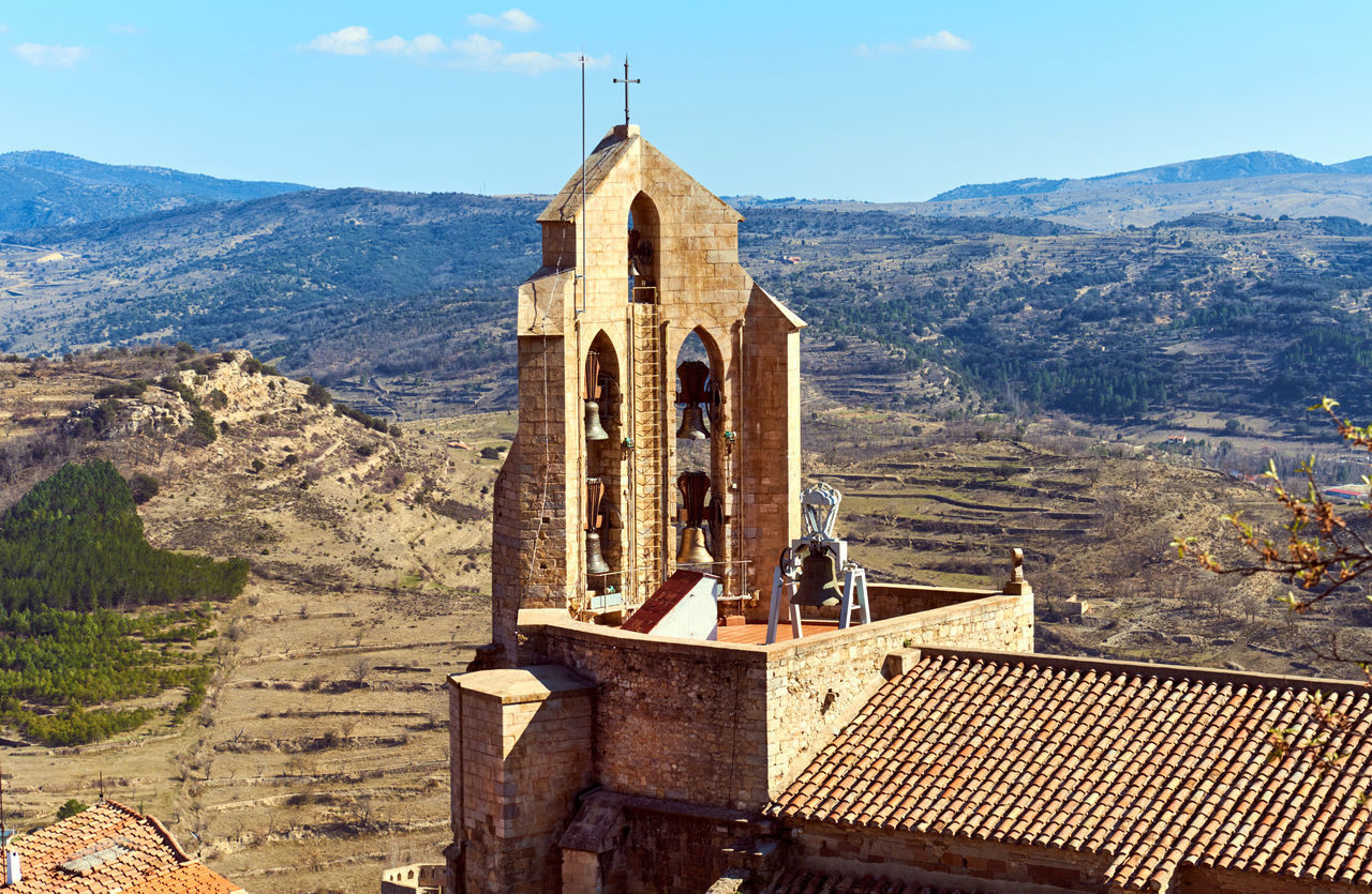Chapel of Morella. Morella is an ancient city located on a hill-top in the province of Castellon, Valencian Community, Spain. Morella Castle was declared a monument of artistic and historical importance. Ancient Architecture Arabic Architecture Bell Tower - Tower Castellón Castle Chapel Defensive Europe Fortification Gothic Architecture Heritage Building History Landmark Maestrazgo Medieval Architecture Monument Morella Nobody Outdoors Part Ruined Castle SPAIN Sunny Day Tower Travel Destinations