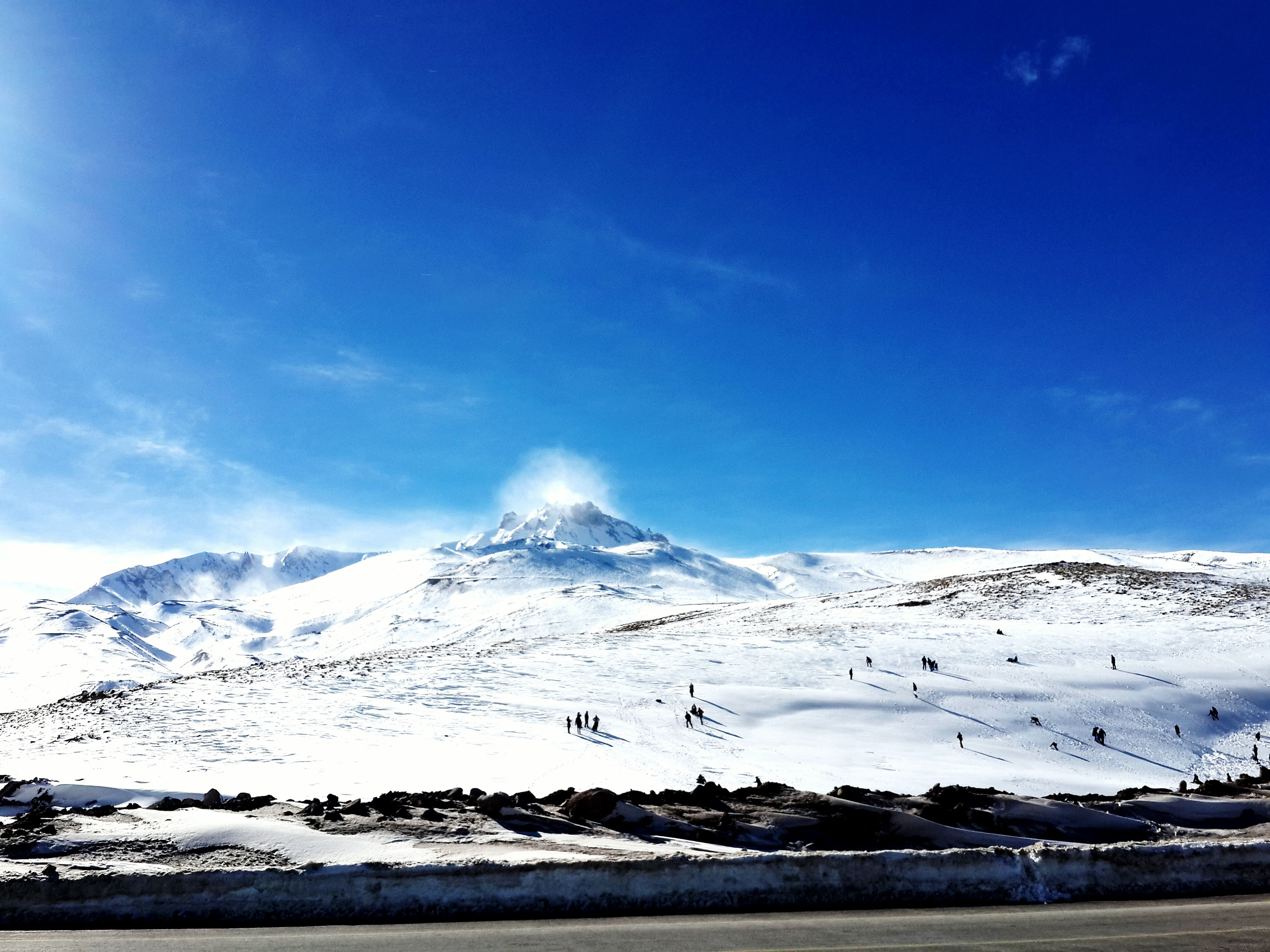 snow, mountain, winter, cold temperature, snowcapped mountain, mountain range, season, scenics, tranquil scene, beauty in nature, landscape, tranquility, blue, sky, nature, weather, covering, non-urban scene, snowcapped, sunlight