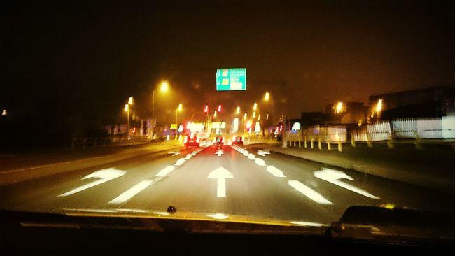 Road Sign Illuminated Transportation Night Text Horizontal Outdoors Exit Sign