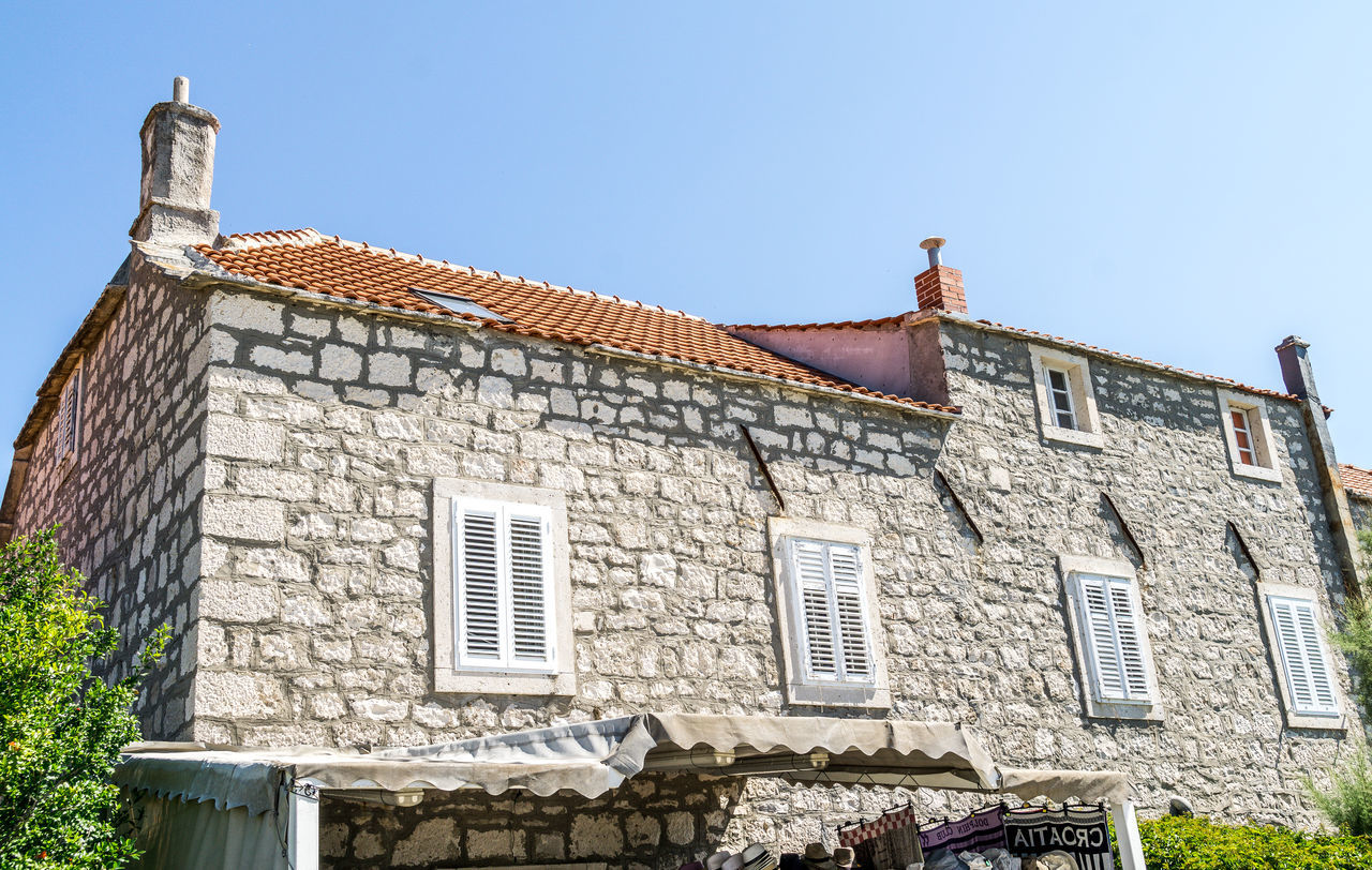 House in Orebic Architecture Building Exterior Built Structure Clear Sky Clock Croatia Day History House Low Angle View Medieval No People Orebic Outdoors Sky Town