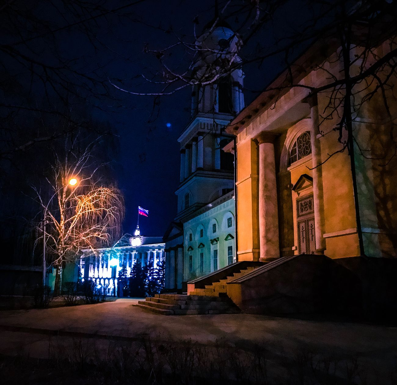 Night Illuminated Architecture Building Exterior Built Structure No People Outdoors Sky Midnight Lipetsk липецк