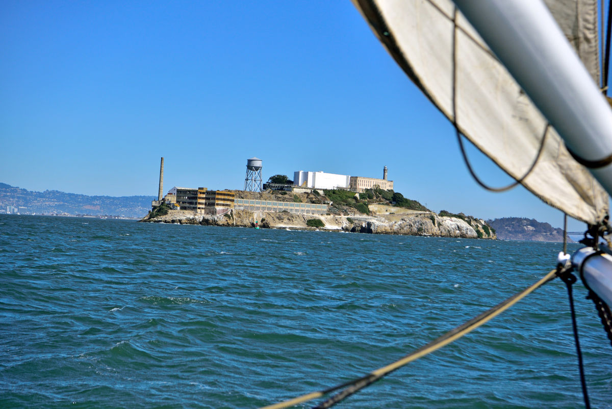 Alcatraz From The Alma Bow 1 Alcatraz Island San Francisco Bay Military Fortification 1850 U.S.Army Garrison Military Prison 1861-1946 Federal Penitentiary 1934-63 The Rock U.S.West Coast Oldest Operating Lighthouse Lighthouse Main Cellhouse Water Tower Warden's House Officers Club Parade Grounds Aboard The Alma Bow Sails East Bay Hills Yerba Buena Island Sailing The Bay