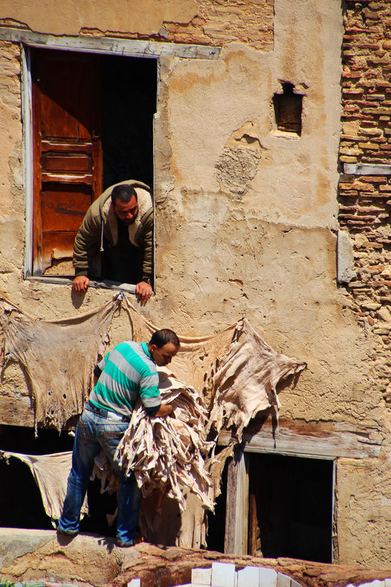Building Exterior Day Fes Hard Workers Leather Leather Craft Medina Medina De Fez Outdoors Real People Teamwork Two People
