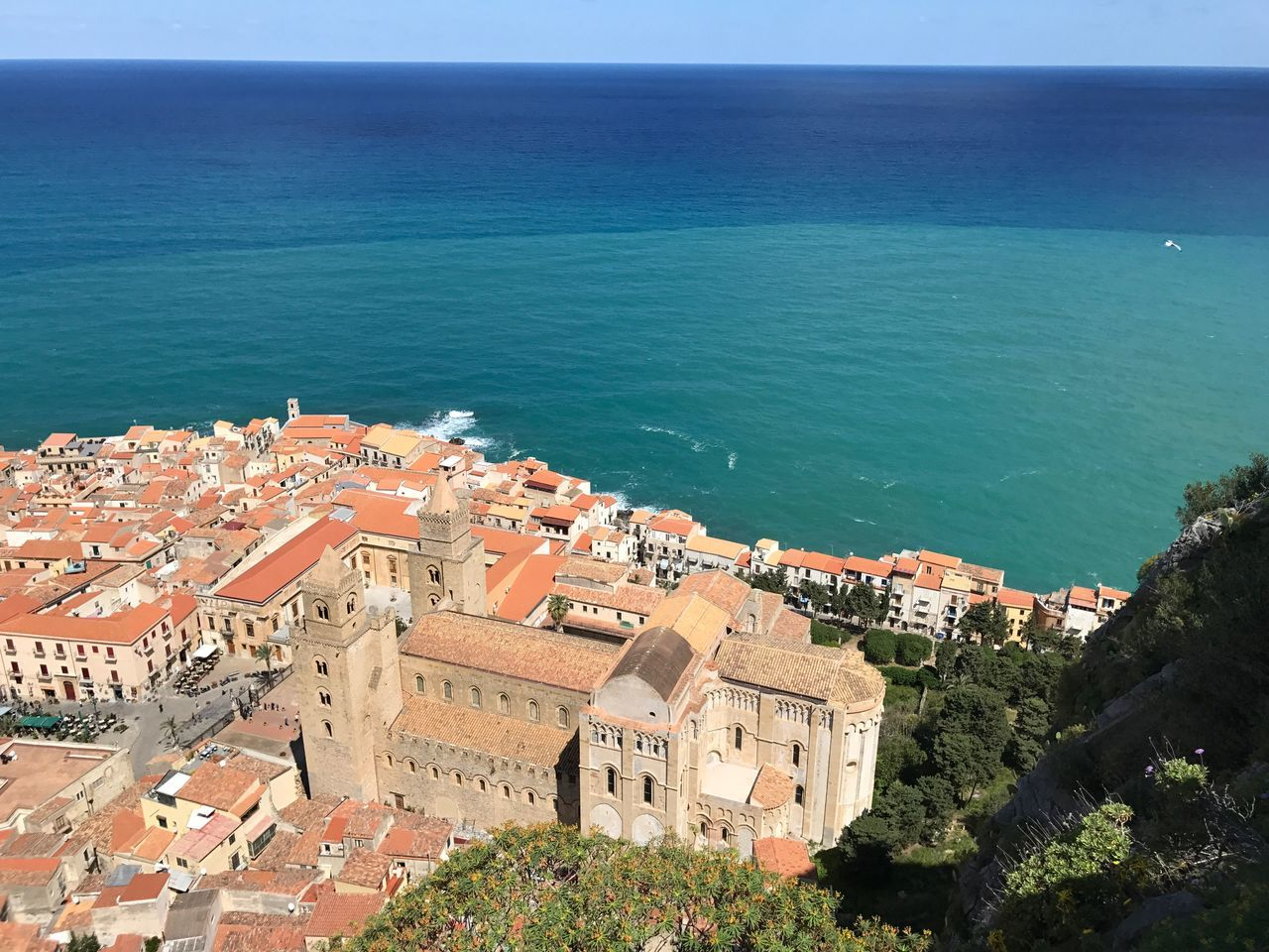 Architecture Building Exterior Built Structure Sea Water High Angle View Horizon Over Water Scenics Cityscape Old Buildings Italian Church Old Church Duomo Dome Historical Building Church View From Above Coastline