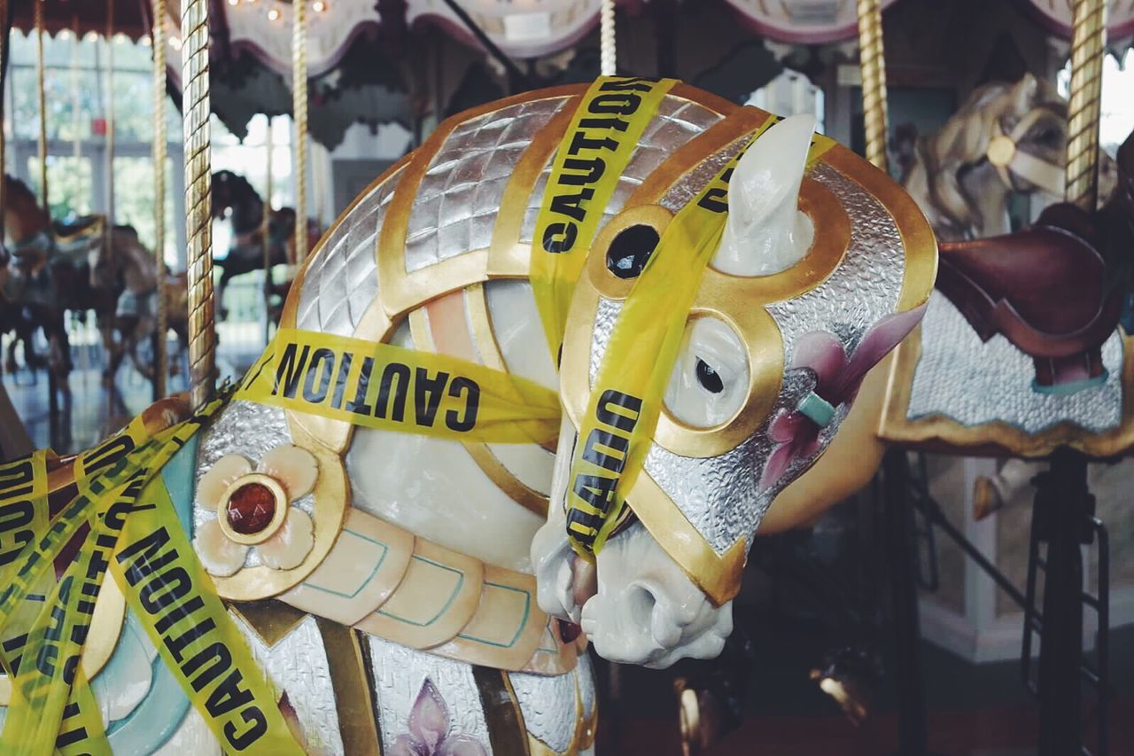 Carousel Carousel Horse Beautiful Carousel Horse Caution Cuidado Caution Tape Broken Out Of Service
