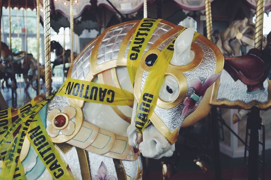 Carousel Carousel Horse Beautiful Carousel Horse Caution Cuidado Caution Tape Broken Out Of Service