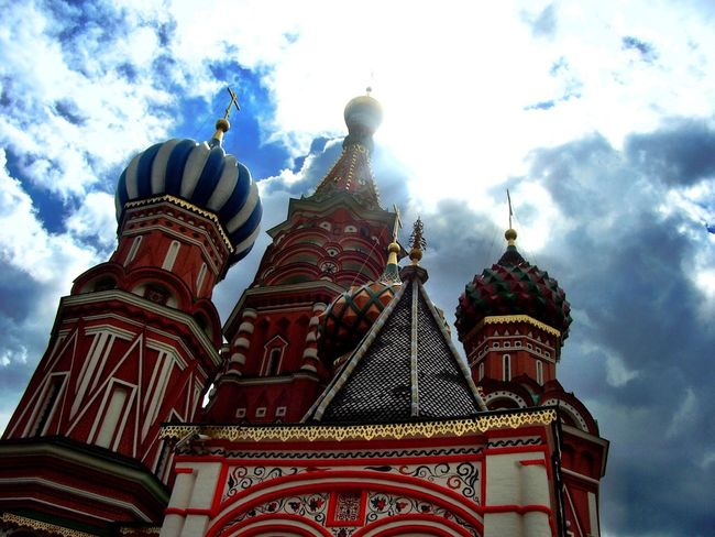 Architecture Building Exterior Built Structure Low Angle View Sky Dome Place Of Worship Religion Travel Destinations Outdoors Cultures No People Spirituality Cloud - Sky City Moscow Russia St Basil's Cathedral