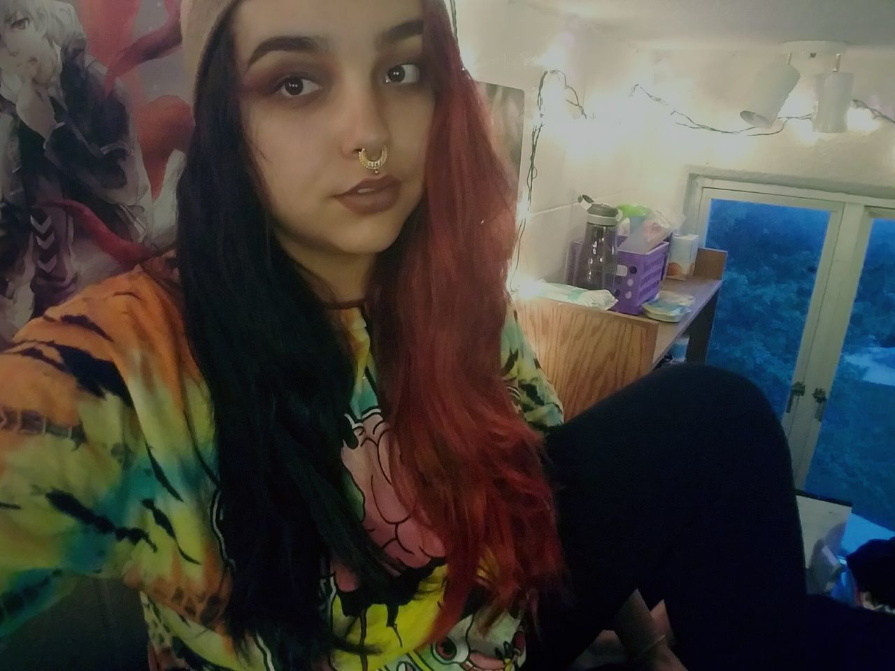 Unravel Tokyo Ghoul Goth Half Head Black And Red Beanie Tie Dye Dorm Life College Piercings Tattooed Alternative Girls Selfie ♥ Edgy Darklings First Eyeem Photo