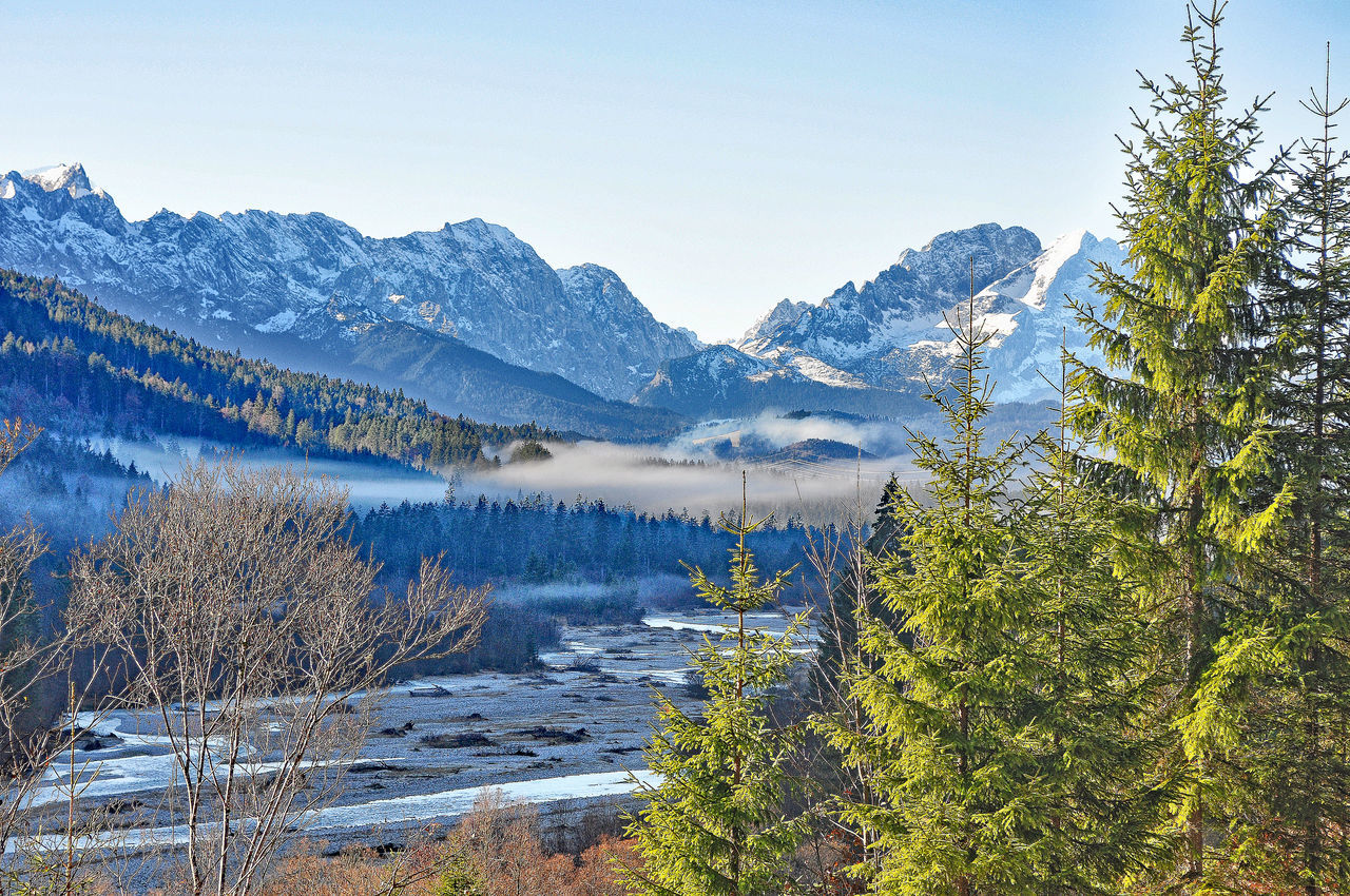 Beauty In Nature Cold Temperature Covering Geology Isar Isarvalley Karwendel Karwendelblick Karwendelgebirge Lake Landscape Majestic Mountain Mountain Range Nature Physical Geography Remote Scenics Season  Snow Snowcapped Tranquil Scene Tranquility Valley Winter