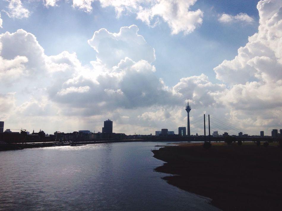Cityscape Urban Skyline River Rhein sky clouds Autimn Waterfront in