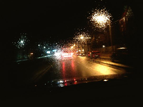 """The way the light hits the road..."" On The Move Night Rain RainDrop Illuminated Car First Eyeem Photo Lamppost Criminals"