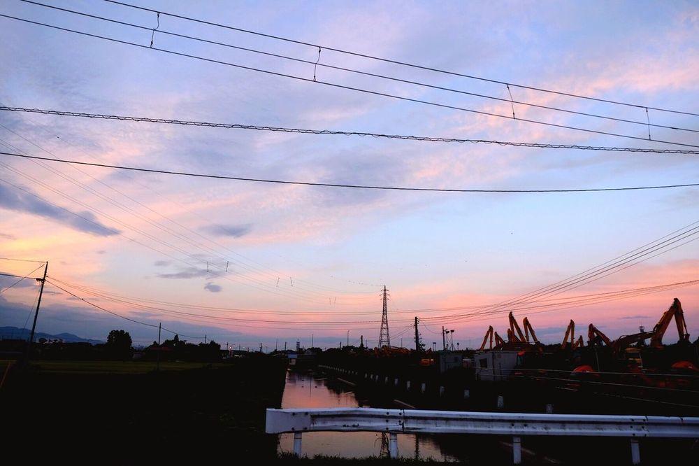 Sky Morning Sky Morning Japan Rice Field Water Reflections Water Heavy Equipment Twilight Twilight Sky