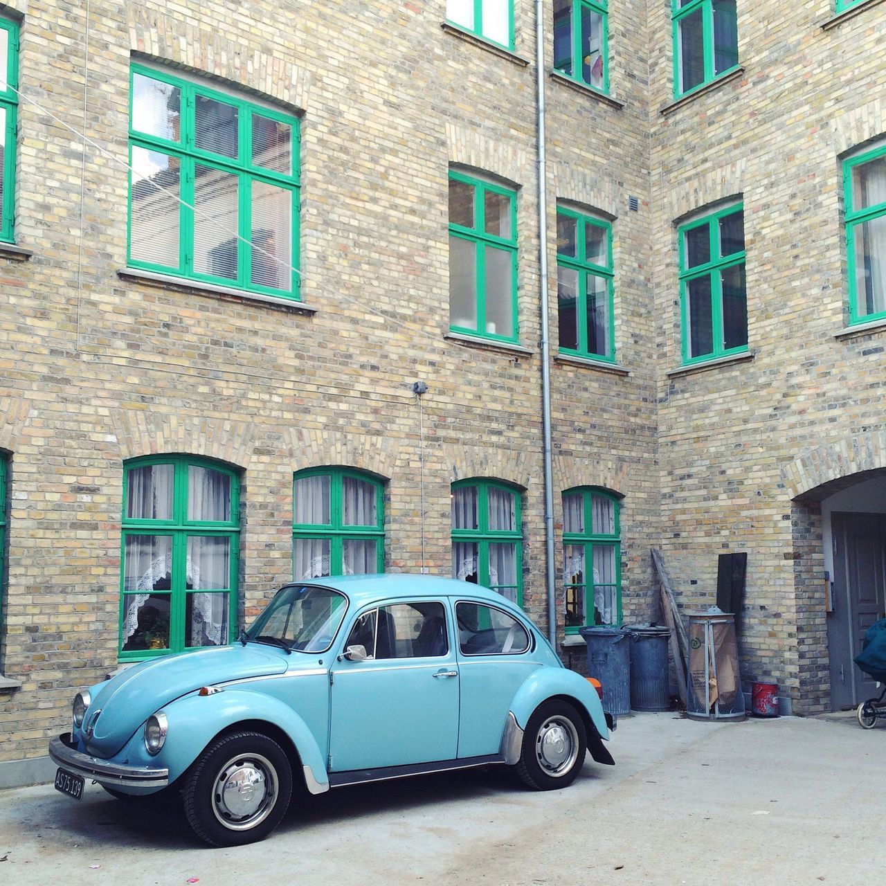 VW Käfer Architecture Babyblue Beetle Brick Building Building Building Exterior Built Structure City City Life Day Dengamleby Façade Gamlebyen Land Vehicle Mode Of Transport No People Outdoors Parked Parking Residential Building Stationary VW Beetle VW Käfer