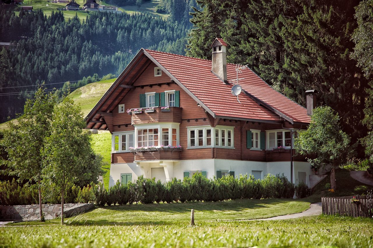 Architecture Building Exterior Built Structure Day Exterior Grass Green Color House Lawn Multi Colored No People Residential Structure Rural Scene Tree Val Pusteria