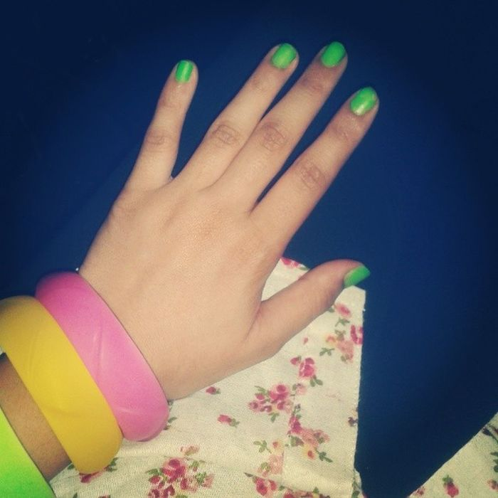 Green Gogreen Colors Colours Colorful Colourful Pink Yellow Green Combo Combination Colorcombo Combination Bright Neon Nailpaint Nailpolish Paint Polish Nailenamel Bangles Accessories Jewellery JunkJewellery Neoncolors