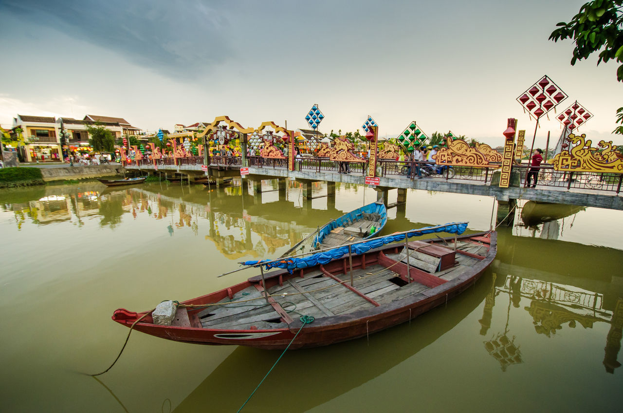 Architecture Bridge - Man Made Structure Building Exterior City Cloud Day Hoi An Landscape Multi Colored Nature Nautical Vessel No People Outdoors Reflection River Scenics Sky Tranquility Vietnam Water