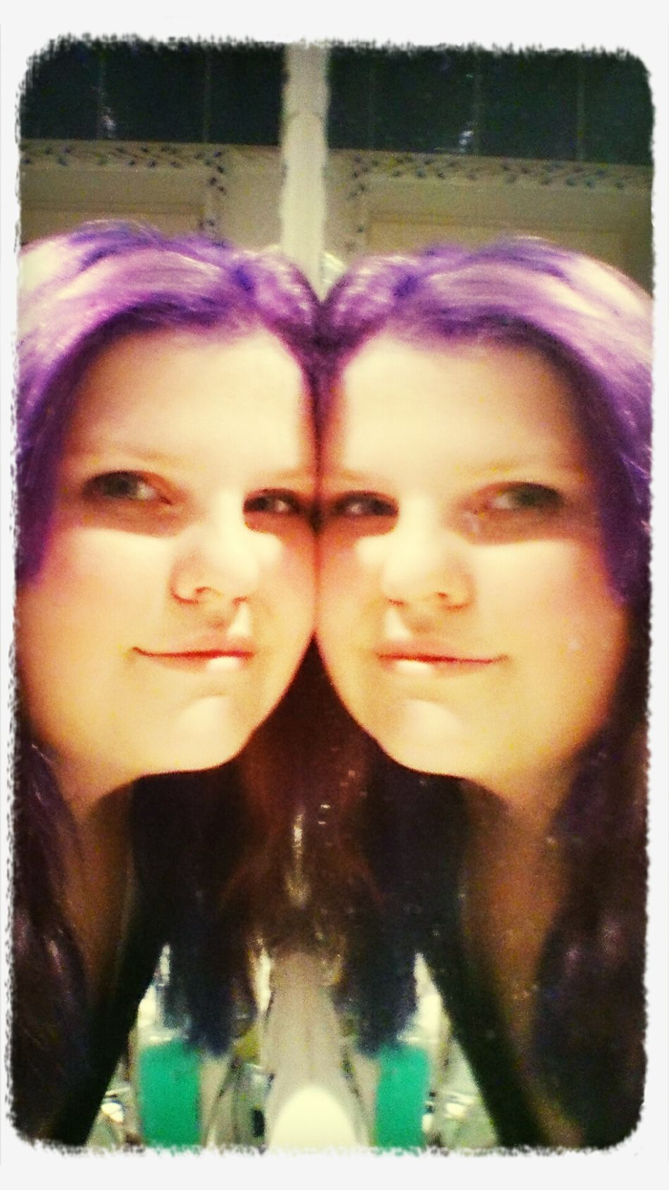 Me and my twin (love my purple hair <3)