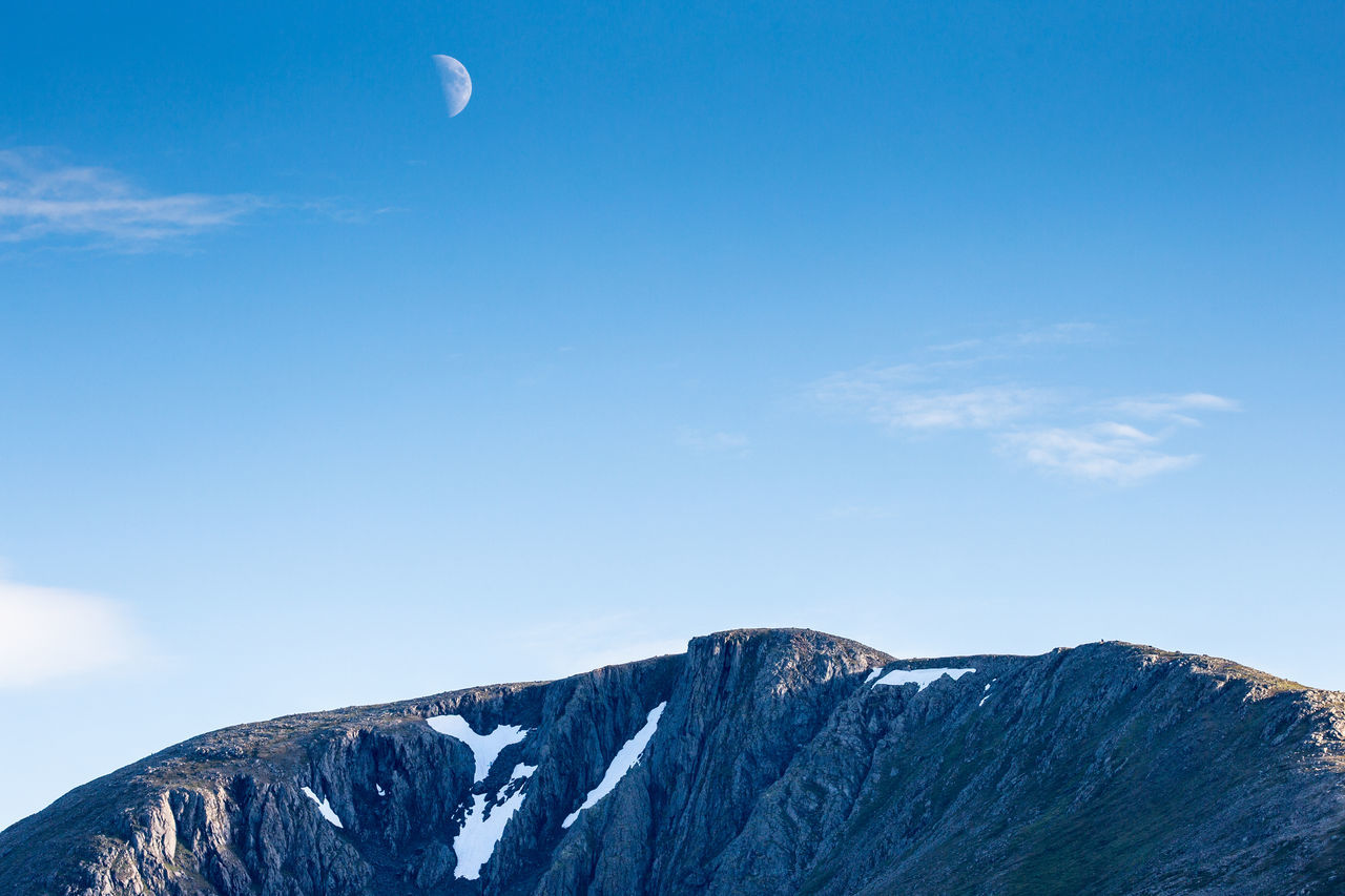 Adventure Arctic Astronomy Beauty In Nature Blue Cloud - Sky Day Half Moon Hiking Landscape Low Angle View Lyngen Lyngen Alps Lyngsalpene Moon Mountain Nature No People Northern Norway Norway Outdoors Sky Snow