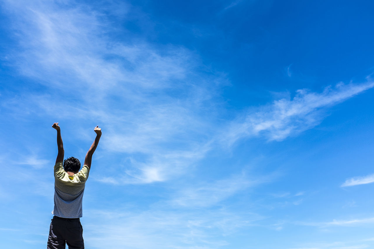 Beautiful stock photos of labor day, Arms Raised, Blue, Carefree, Cloud