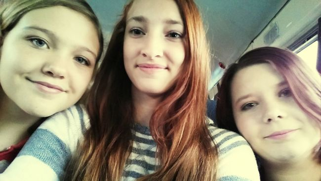 On a band field trip with my babe and our bestie! So much candy and monsters xD School Selfie  School ✌ Selfie ✌ Selfies! Car Ride  Drive Bestfriend