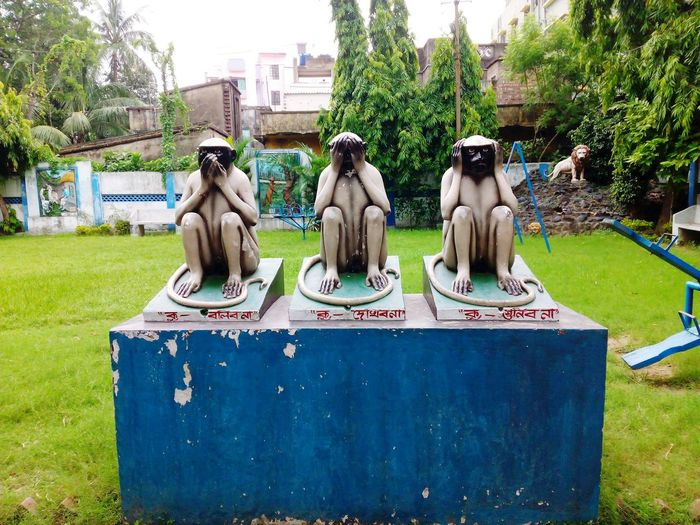 """3 Inspirational Monkeys Of """"Mahatma Gandhi"""". 3 GreatMonkeys Architecture Art Built Structure City Day Grass Grassy Great Story Great Teachers Great Teachings Green Color Growth Indiapictures Inspirational Monkeys Lawn Lifestyles Mahatma Gandhi Moral Story My Memories Nature Outdoors Park Sky Tree"""