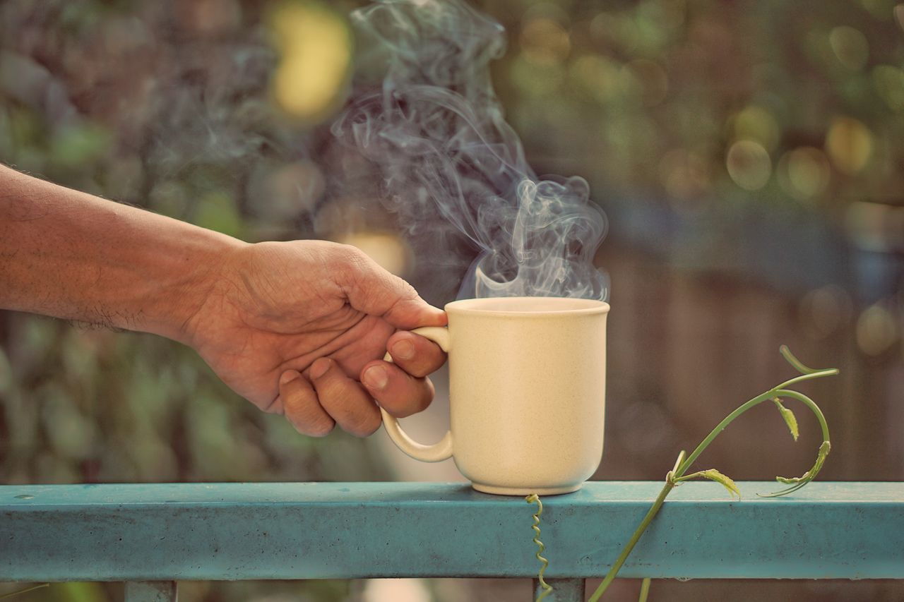 Human Body Part Human Hand Adult Drink People One Person Lifestyles Outdoors Men Adults Only Women Food Day Only Men Close-up Young Adult Coffee Coffee Break Take A Break Morning Breakfast Bokeh Vintage Positive Thinking Rilex