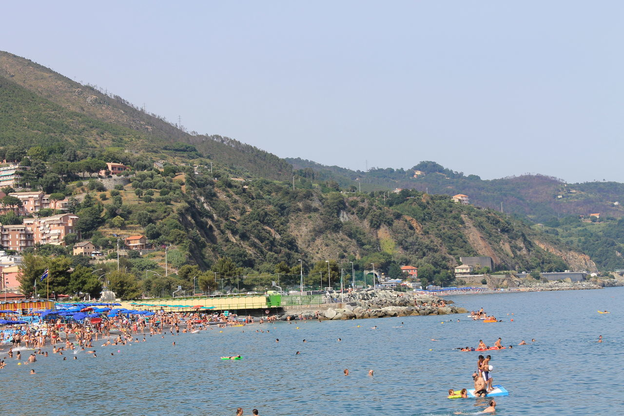 Beach Beauty In Nature Day Italy Large Group Of People Liguria Mountain Nature Outdoors People Relaxation Tranquil Scene Vacations Water