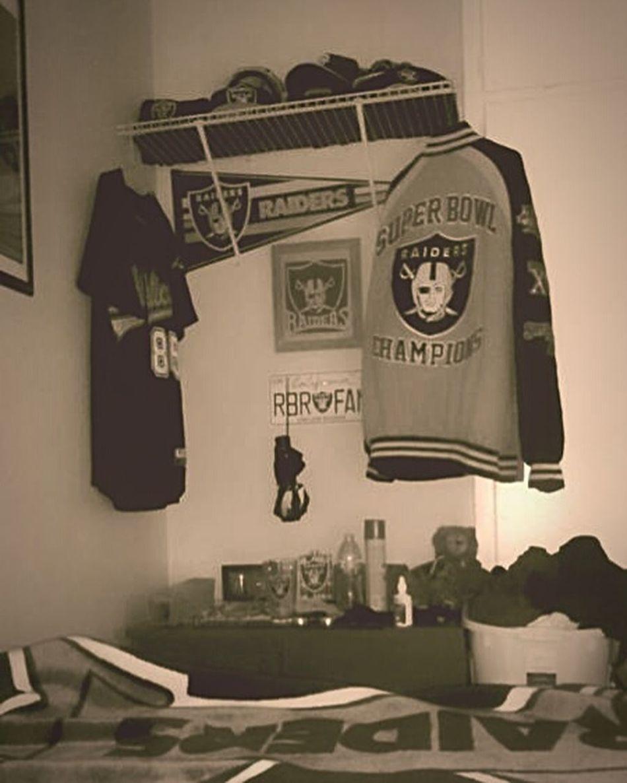This is my Oakland Raiders Shrine in My Bedroom RN4L Raiders Raider Nation RaiderNation Autumn Wind Raiders4life SILVER AND BLACK bow down!