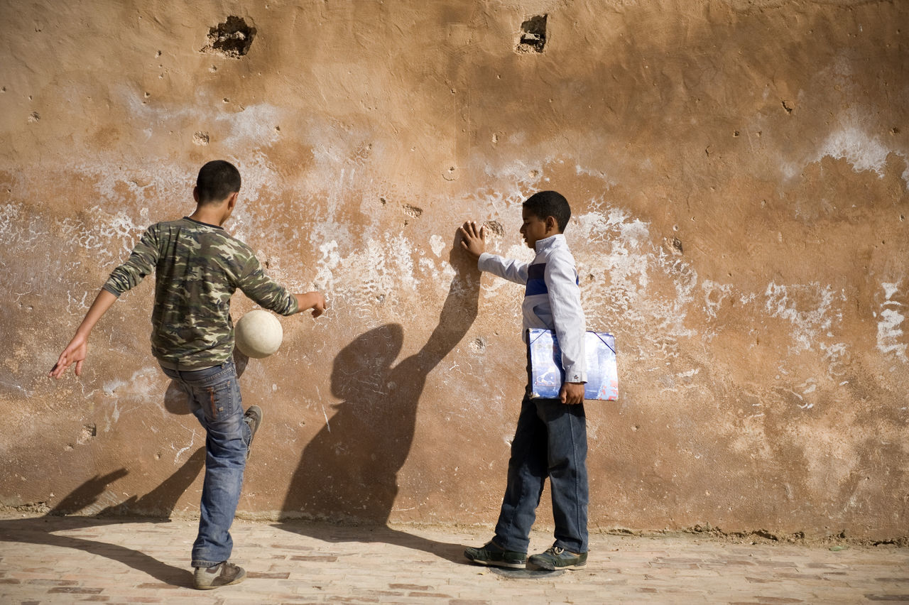 boys, standing, childhood, full length, two people, son, father, day, shadow, child, outdoors, adult, people