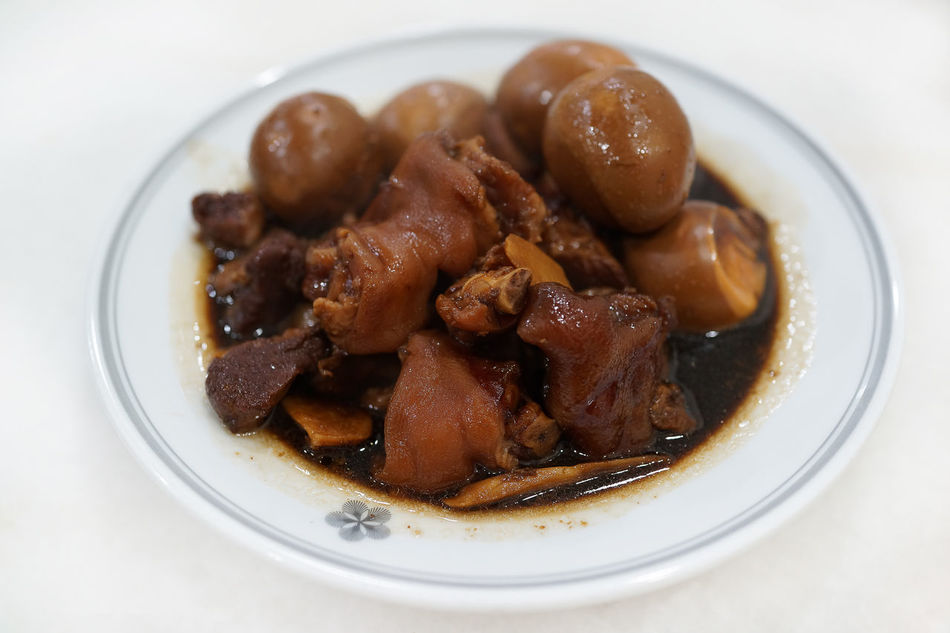 Braised pig's trotters with ginger, brown soya sauce, rice wine vinegar. chinese food ASIA Braised Chinese Food Close-up Egg Food Freshness Ginger Malaysian Food Oriental Oriental Design Plate Pork Ready-to-eat Rice Wine Serving Size Soya Sauce Sweet Food Temptation Trotters Vinegar