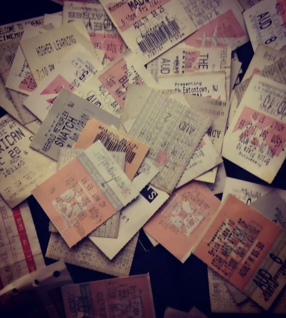 All my movie stubs...many decades of movies ....... Indoors  No People Paper Text Reminder Close-up Day Movies Tonight Movies Tickets