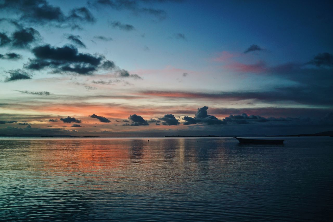 ASIA Beach Boat Colorful Dusk Horizon Over Water INDONESIA Maluku  Moluccas Morotaiisland Nature No People Outdoors Scenics Sea Seaside Sun Sunset Tranquil Scene Tranquility Travel Water