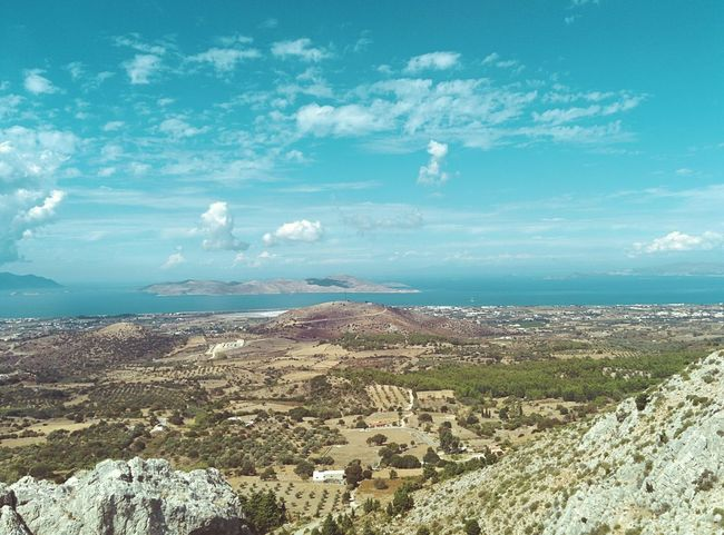 "🇬🇷 in Paleo Pyli. Hiking. Up a mountain. Wearing flipflops only. Btw, if you zoom in a bit, that other ""island"" righthand is the coast of Turkey 🇹🇷 Mediterranean Landscape View From Above Mediterranean Sea Holiday POV Kos, Greece Kos Island Summer Day Hot Summer Day Horizon Over Water Faintly Colors - 仄か Wilderness Empty Landscape Spaciousness Wide Open Spaces Copy Space Vintage Photo Cinema In Your Life Cinematic Photography My Unique Style Greece Olive Tree Landescape Olive Trees Landscape_Collection The KIOMI Collection Rocks And Trees"