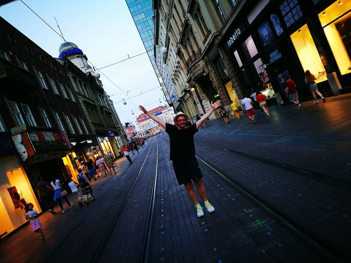 Hanging Out Taking Photos Cheese! Hi! Enjoying Life Night Lights Brother Zagreb Outdoors Showcase July Ilica Street Hello World Jelacic Square croatia Colour Of Life