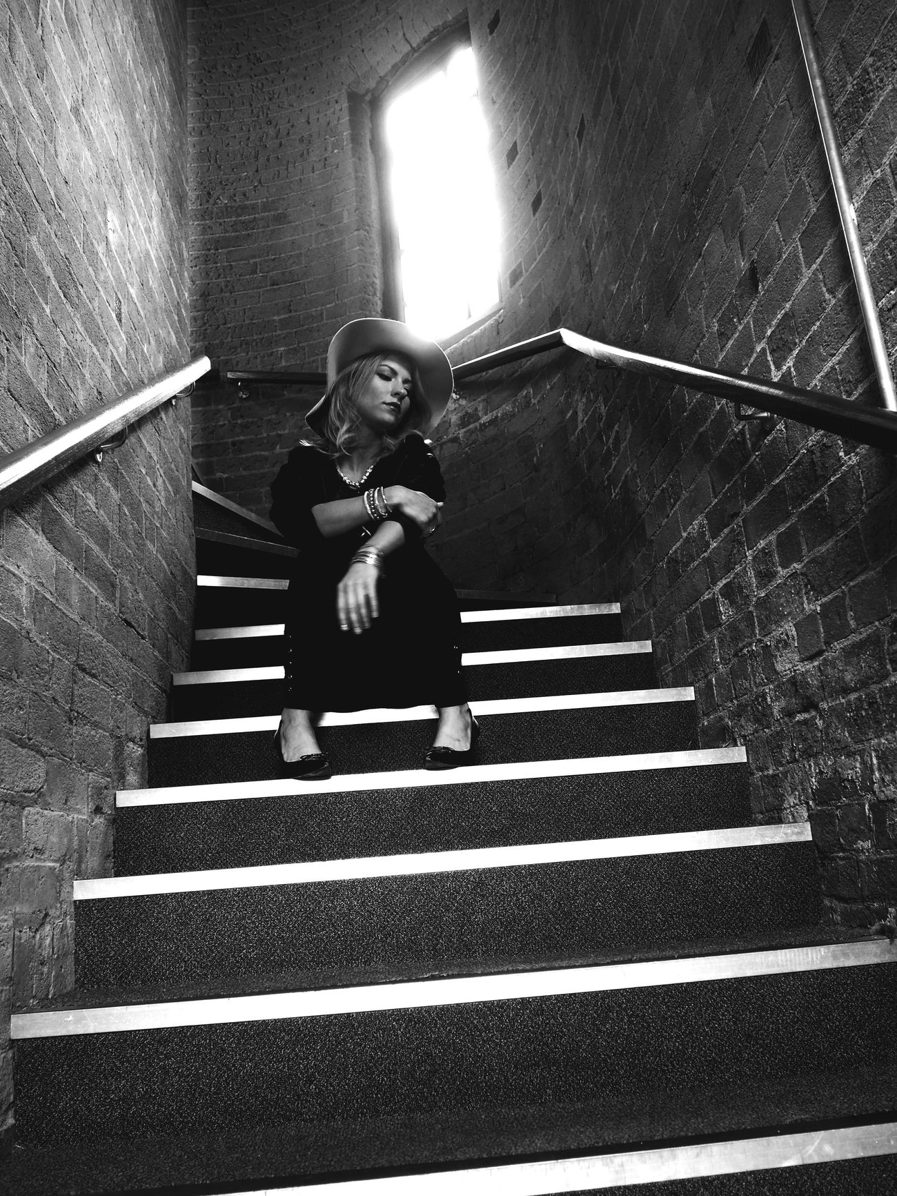 Stairs Staircase Steps One Person Indoors  Light And Shadow Window Full Length Stairs Real People Lifestyles Casual Clothing Leisure Activity Built Structure Girls Looking At Camera Portrait Childhood Smiling Architecture Day Young Adult Theportraitist-2017eyeemawards Olympus