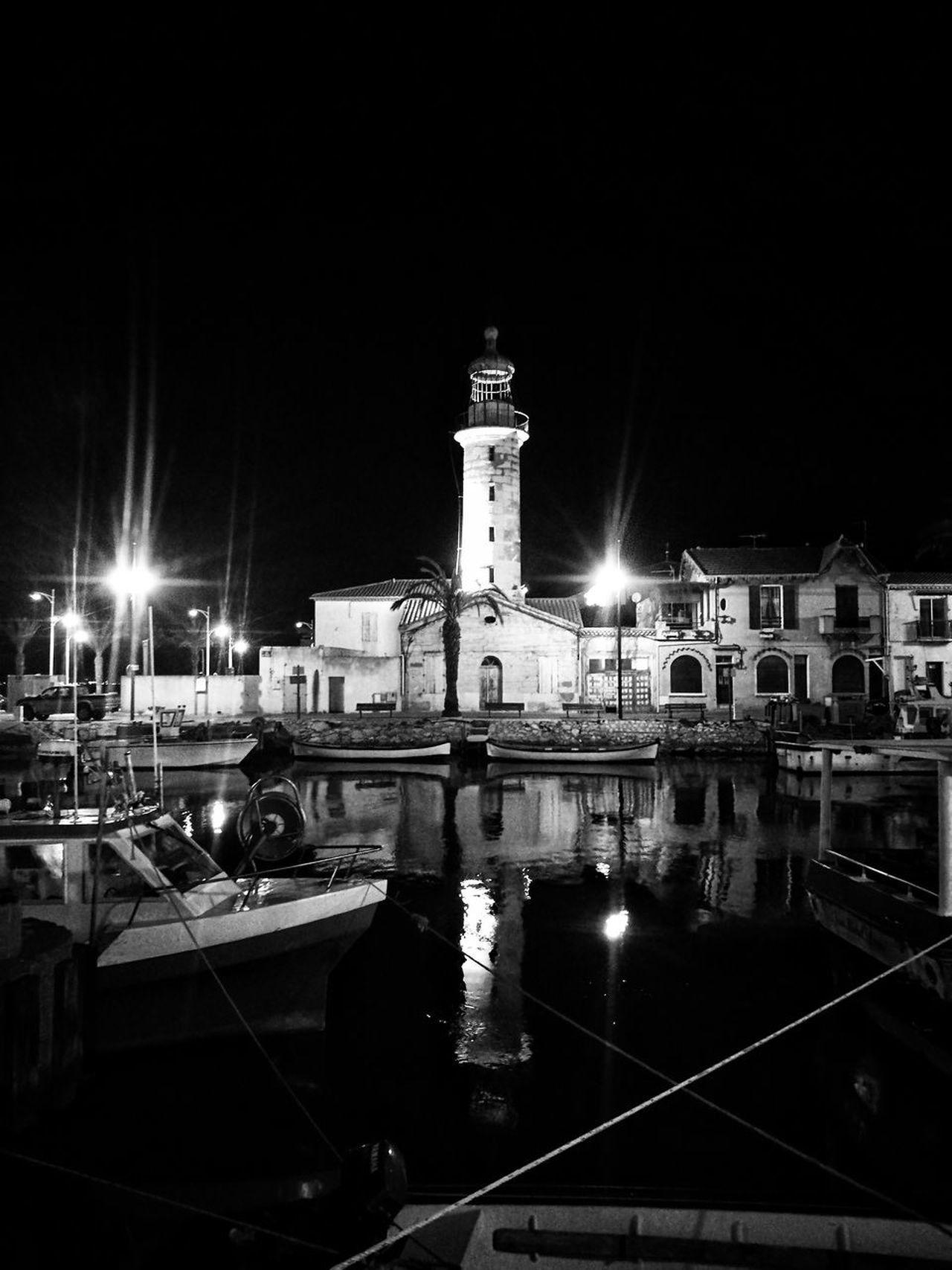 Night Illuminated Reflection Architecture Boat Dock Fishing Port Sea Travel Destinations Grau Du Roi